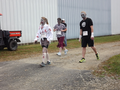 A few Zombies warmed-up, stretching both their legs and their groans.  It was a noisy morning.