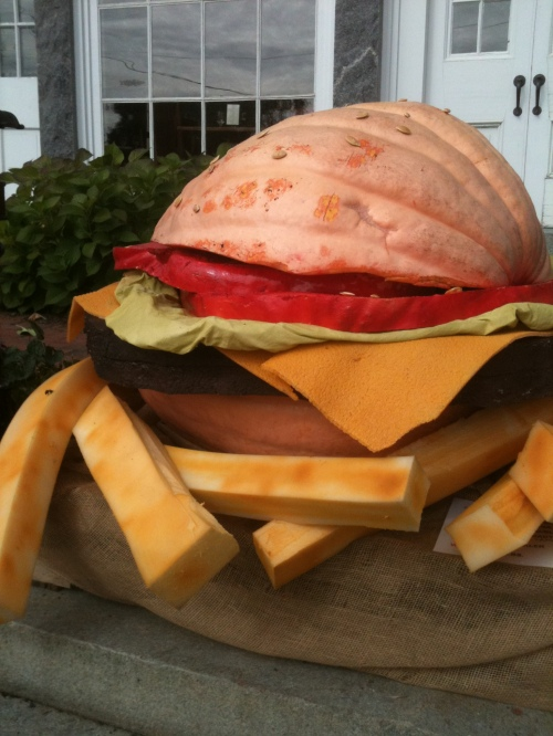 Outside the Newcastle Public House, this pumpkin became a giant cheeseburger, with the pumpkin seeds transformed into sesame seeds.  This one gets my vote for Best Carved Pumpkin Ever.