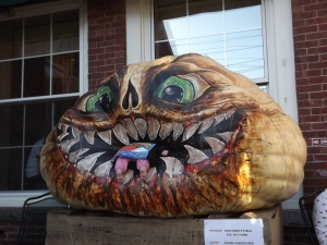 Glen Chadbourne, of Stephen King-bookjacket fame, had a little baby crawling into his pumpkin this year -- suitably creepy!
